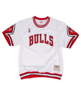 Maillot Basketball Mitchell & Ness Chicago Bulls Shooting Shirt Blanc Hardwood