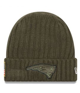 Bonnet New Era New England Patriots Olive Salute To Service Doublé Polaire NFL On Field Sport Knit
