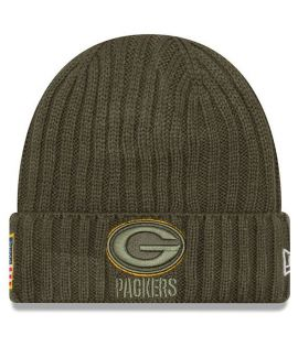 Bonnet New Era Green Bay Packers Olive Salute To Service Doublé Polaire NFL On Field Sport Knit
