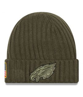 Bonnet New Era Philadelphie Eagles Olive Salute To Service Doublé Polaire NFL On Field Sport Knit