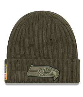 Bonnet New Era Seattle Seahawks Olive Salute To Service Doublé Polaire NFL On Field Sport Knit