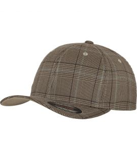 Casquette courbée Flexfit Glen Check Marron - Khaki à carreaux