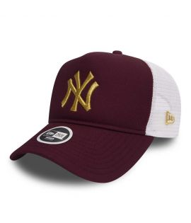 Casquette Trucker Femme New Era New York Yankees Essential Truck Bordeaux Or