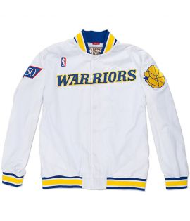 Veste Mitchell & Ness Golden States Warriors Authentic Warm Up 96-97 Hardwood Classics Blanc