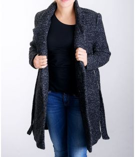 Manteau Only Noma Wool Trenchcoat Noir Chiné Laine