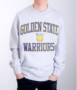 Sweat Mitchell & Ness Golden States Warriors NBA Hardwood Classics Crewneck Gris