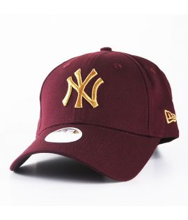 Casquette Incurvée Femme New Era New York Yankees Bordeaux Or 940